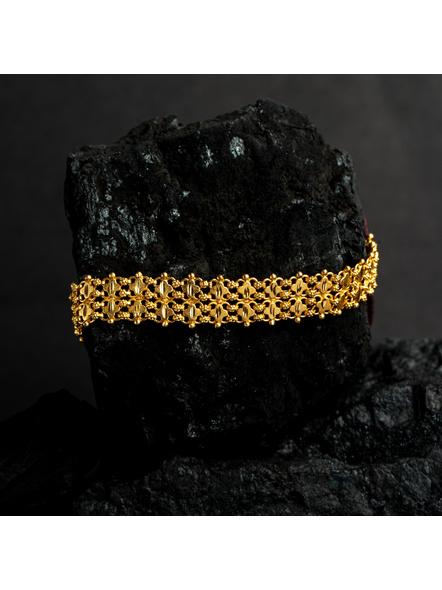 Designer 1.5g Gold Polished Net Choker with Adjustable Chain-LAAGP15NLS15