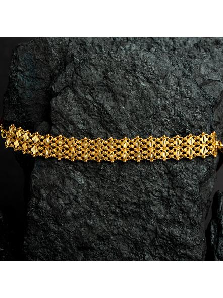 Designer 1.5g Gold Polished Net Choker with Adjustable Chain-Gold-Copper-Adult-Female-16CM-1