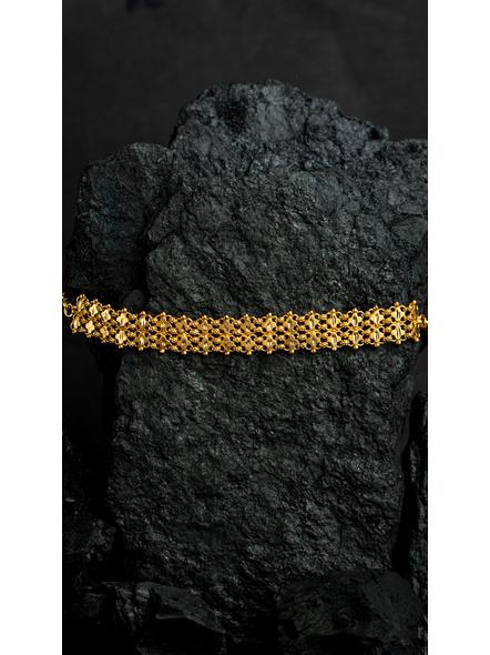Designer 1.5g Gold Polished Net Choker with Adjustable Chain-Gold-Copper-Adult-Female-16CM-2