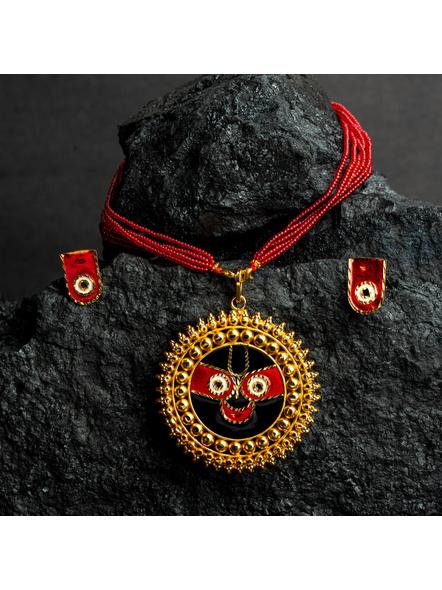 Round Jagannath Deva 1.5g Gold Polished Meenakari Necklace Set with Red Seed Bead Adjustable Tassel-LAAGP15NLS16
