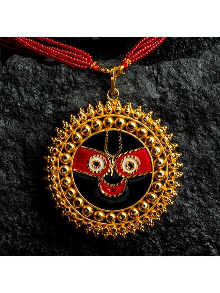 Round Jagannath Deva 1.5g Gold Polished Meenakari Necklace Set with Red Seed Bead Adjustable Tassel-1