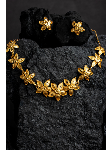 Floral 1.5g Gold Polished Necklace Set with Adjustable Chain and Matching Ear Tops-Gold-Copper-Adult-Female-43CM-2