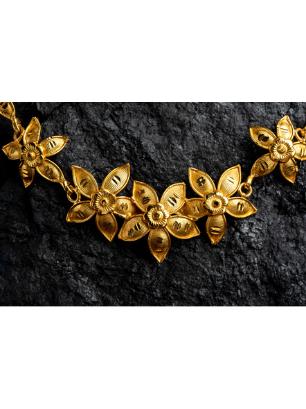 Floral 1.5g Gold Polished Necklace Set with Adjustable Chain and Matching Ear Tops-Gold-Copper-Adult-Female-43CM-1