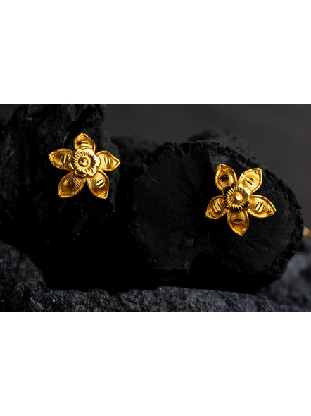 Floral 1.5g Gold Polished Necklace Set with Adjustable Chain and Matching Ear Tops-Gold-Copper-Adult-Female-43CM-3