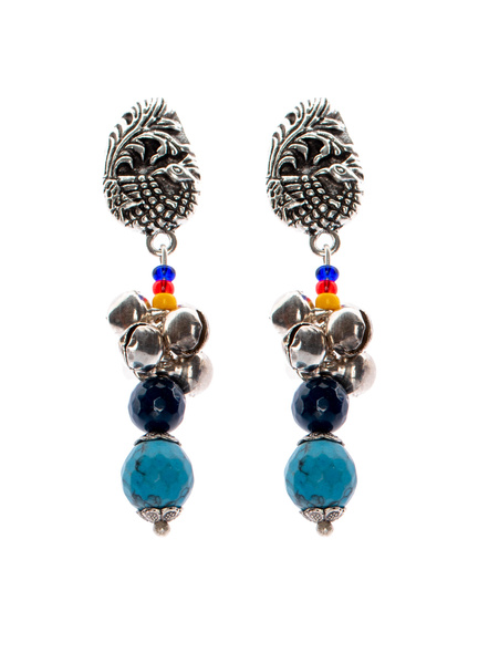Handcrafted Designer German Silver peacock stud Dangler with semi precious Turquoise Onyx and yellow red Blue seed bead-LAAER269