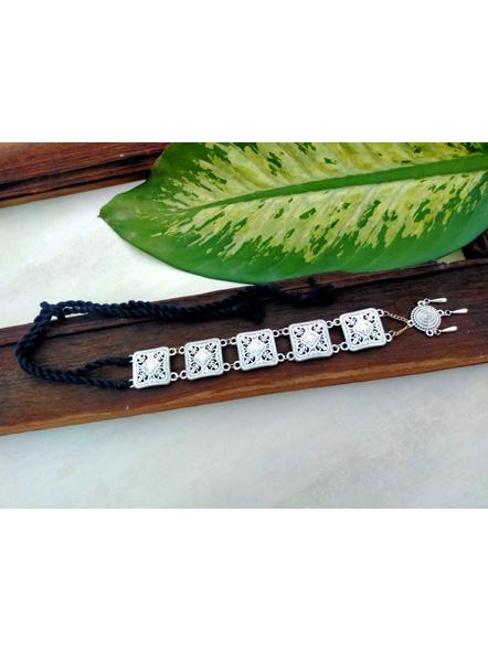 Handcrafted Designer German Silver Sleek Pendant Neckpiece with Round, Square frame and Adjustable Black Tassle-2