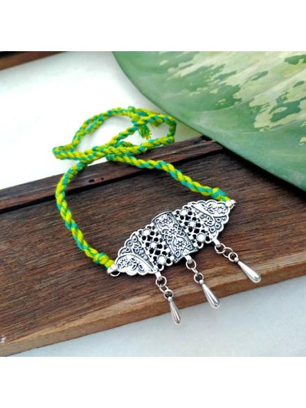 Handmade Designer German Silver Choker with Silver Droplet and Adjustable Teal Green Dori-LAANSNL010