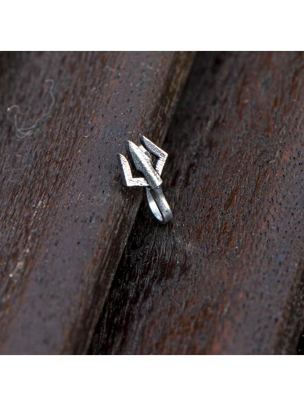 Designer Trishul German Silver Clip-on Nosepin-LAAGSNP012