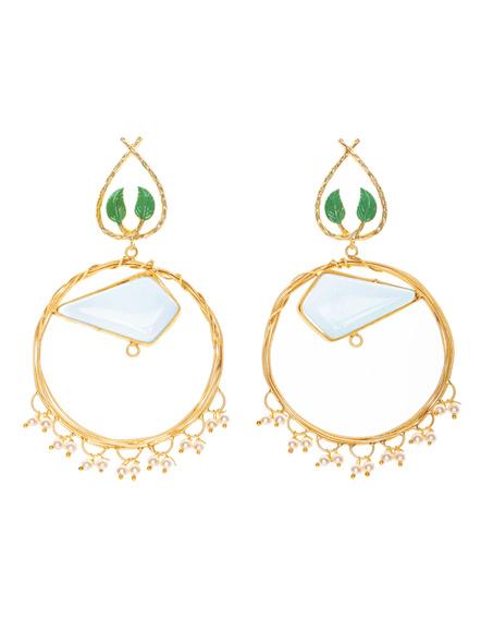 Handcrafted Opal Round Brass Frame Leaf Design Stud Earrings-1