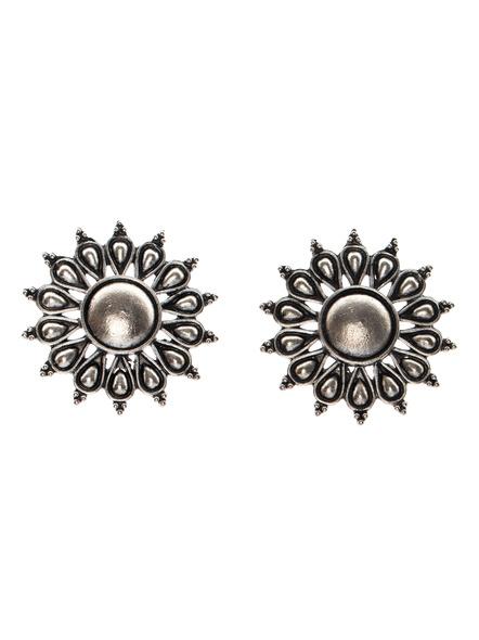Designer German Silver Jumbo Floral Stud Earring-LAAER292
