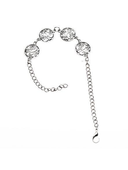 Designer German Silver circular charm bracelet with adjustable chain-LAAHB017