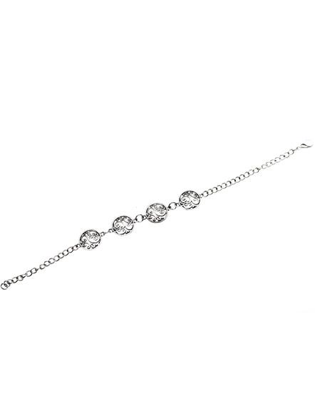Designer German Silver circular charm bracelet with adjustable chain-1