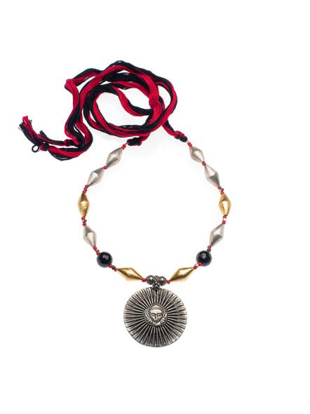 Designer German Silver Durga Devi dual tone Dholki neckpiece with Red Black Adjustable Dori-LAAHMNL01