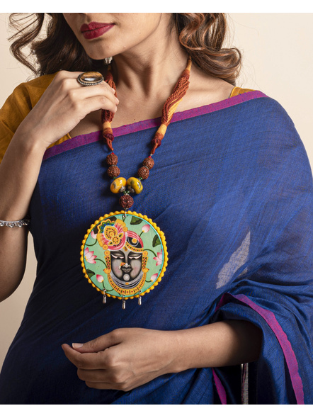 Designer Shrinathji Jumbo Pendant neckpiece with Acrylic Rudraksha and Adjustable Brown Dori-LAAHMNL02