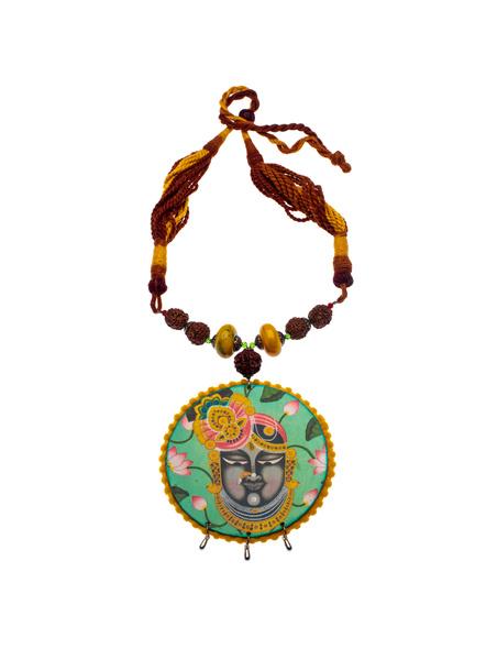 Designer Shrinathji Jumbo Pendant neckpiece with Acrylic Rudraksha and Adjustable Brown Dori-1