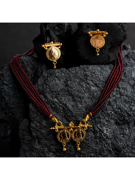 1.5g Gold Polished Victorian Coin Mangalsutra Neckset with Adjustable seed bead tassle-LAAGP15NLS18