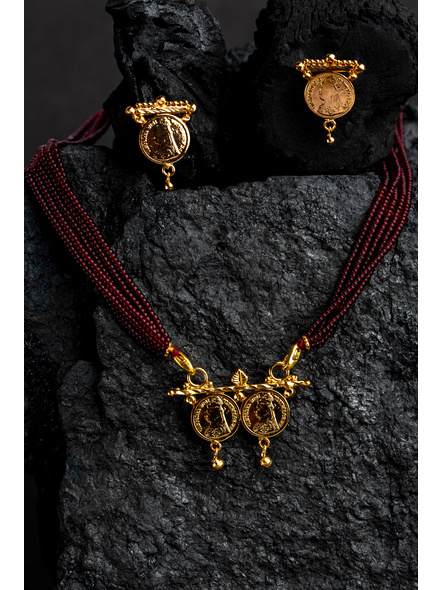 1.5g Gold Polished Victorian Coin Mangalsutra Neckset with Adjustable seed bead tassle-Gold-Copper-Adult-Female-4CM-2