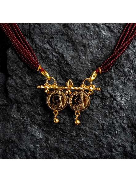1.5g Gold Polished Victorian Coin Mangalsutra Neckset with Adjustable seed bead tassle-Gold-Copper-Adult-Female-4CM-1