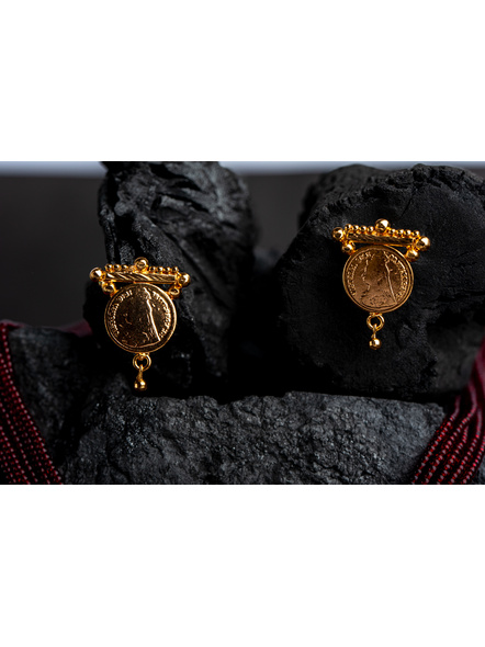 1.5g Gold Polished Victorian Coin Mangalsutra Neckset with Adjustable seed bead tassle-Gold-Copper-Adult-Female-4CM-3