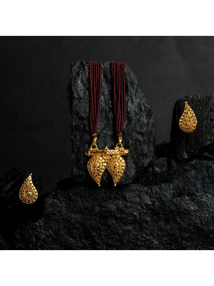 1.5g Gold Polished Paisley Mangalsutra Neckset with Adjustable seed bead tassle-Gold-Copper-Female-Adult-4CM-2