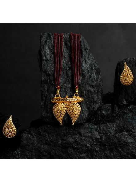 1.5g Gold Polished Paisley Mangalsutra Neckset with Adjustable seed bead tassle-LAAGP15NLS19