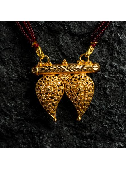 1.5g Gold Polished Paisley Mangalsutra Neckset with Adjustable seed bead tassle-Gold-Copper-Female-Adult-4CM-1