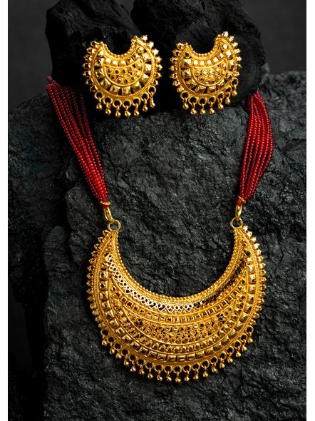 1.5g Gold Polished Big Crescent Mangalsutra Neckset with Adjustable seed bead tassle-LAAGP15NLS20