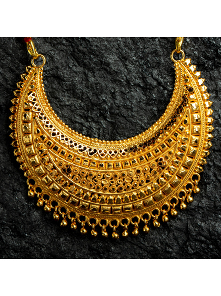 1.5g Gold Polished Big Crescent Mangalsutra Neckset with Adjustable seed bead tassle-Gold-Copper-Female-Adult-8CM-1