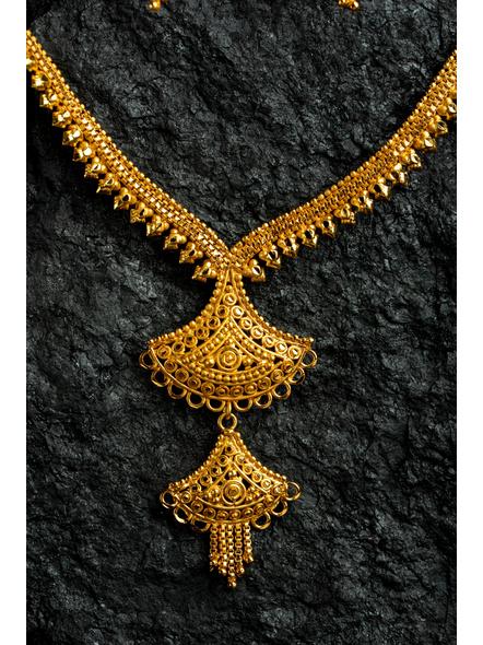 1.5g Gold Polished Exquisite choker Necklace Set with Floral Dangler-Gold-Copper-Adult-Female-47.5CM-1