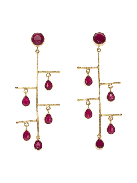 Ruby Red Stone Designer Stud Layered Dangler-LAAER420