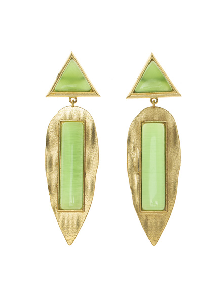 Designer Triangular Leaf Green Golden Stud Dangler-LAAER419