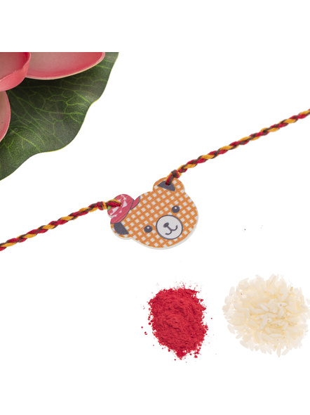 Wooden Bear with Hat Rakhi for Kids with Roli Chawal-2