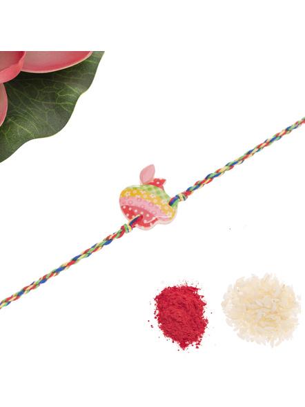Acrylic Multicolor Apple Rakhi with Multicolor Dori Roli Chawal for Boys & Kids-2