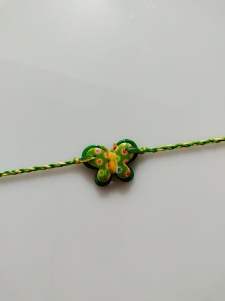 Acrylic Green Butterfly Rakhi with Yellow Green Dori Roli Chawal for Boys & Kids-3