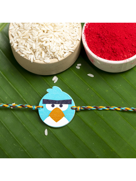 Wooden Turquoise Blue Angry Bird Rakhi for Kids with Roli Chawal-LAARKK01