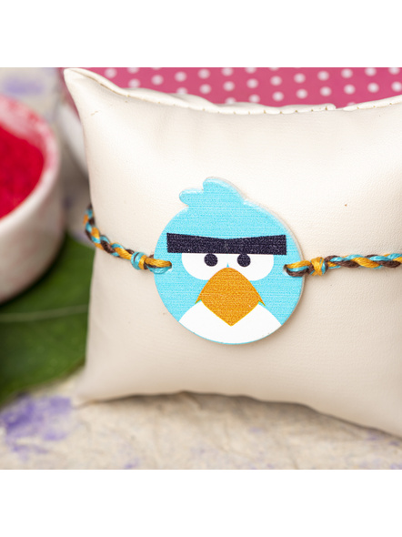 Wooden Turquoise Blue Angry Bird Rakhi for Kids with Roli Chawal-1