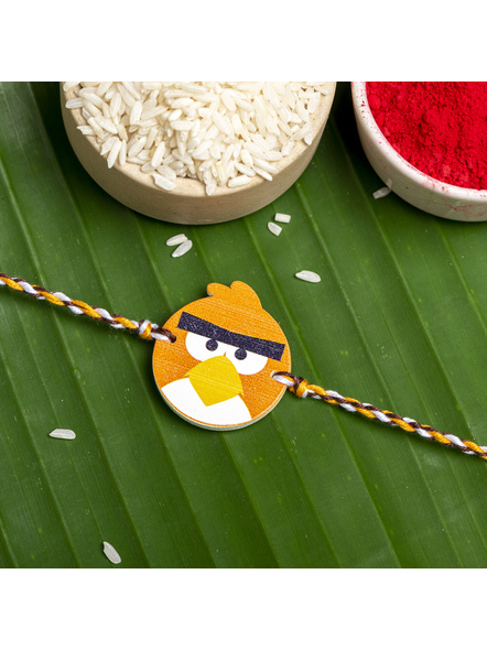 Wooden Orange Angry Bird Rakhi for Kids with Roli Chawal-LAARKK03