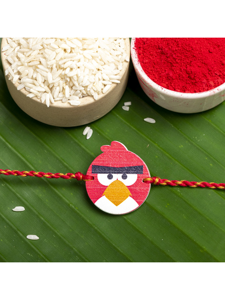 Wooden Red Black Angry Bird Rakhi for Kids with Roli Chawal-1