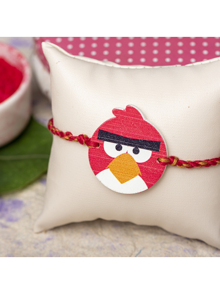 Wooden Red Black Angry Bird Rakhi for Kids with Roli Chawal-LAARKK02
