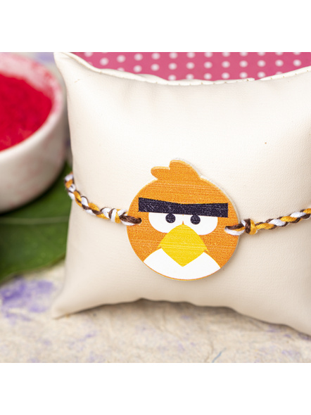Wooden Orange Angry Bird Rakhi for Kids with Roli Chawal-1