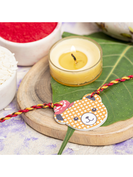 Wooden Bear with Hat Rakhi for Kids with Roli Chawal-LAARKK04
