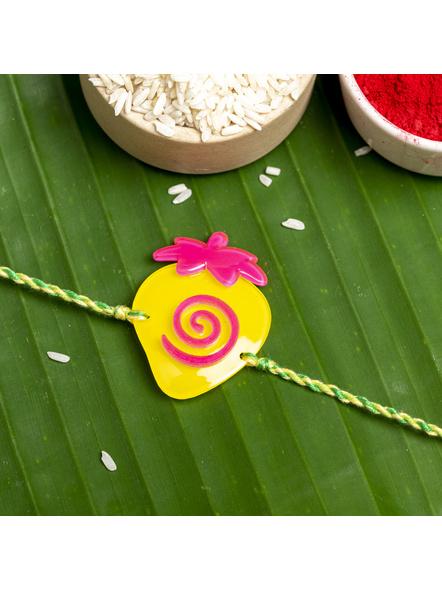 Acrylic Yellow Pink Strawberry with Green Yellow Dori Rakhi and Roli Chawal for Boys & Kids-LAARKK05