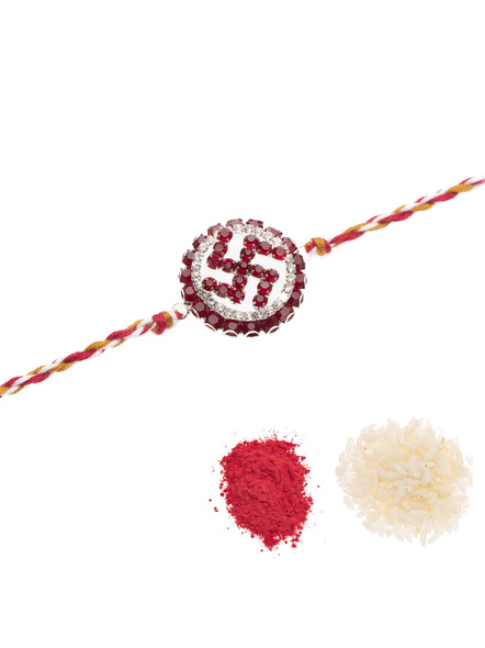 Exclusive Circular Red White American Diamond Swastik Rakhi Bracelet with Red White Golden Dori and Roli Chawal for Boys and Men-2