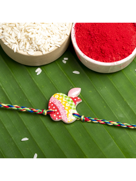 Acrylic Multicolor Apple Rakhi with Multicolor Dori Roli Chawal for Boys & Kids-LAARKK12