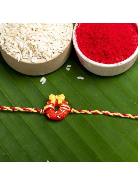 Acrylic Red Doughnut Rakhi Yellow Red Dori Roli Chawal for Boys & Kids-LAARKK13