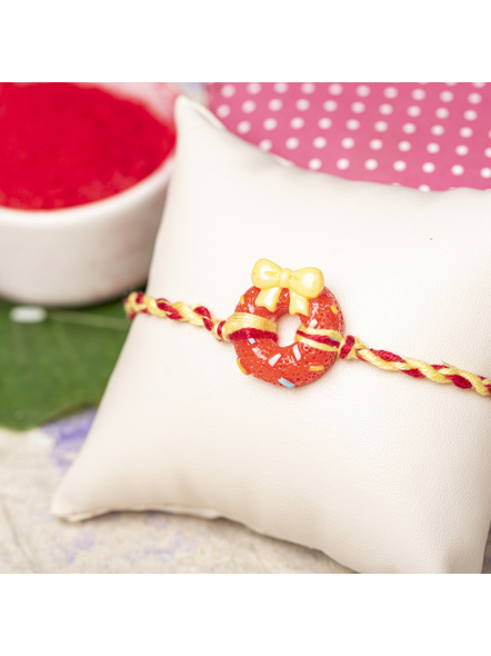 Acrylic Red Doughnut Rakhi Yellow Red Dori Roli Chawal for Boys & Kids-1