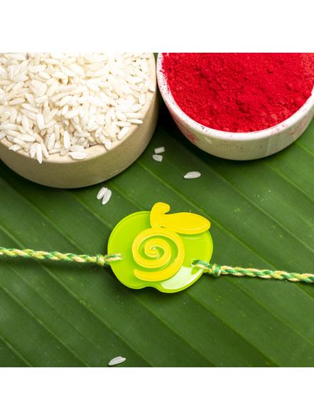 Acrylic Green Yellow Apple Rakhi with Green Yellow Dori Roli Chawal for Boys and Kids-LAARKK11