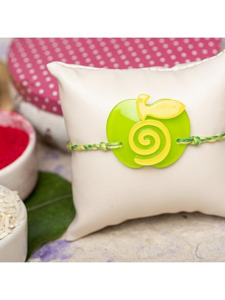 Acrylic Green Yellow Apple Rakhi with Green Yellow Dori Roli Chawal for Boys and Kids-1