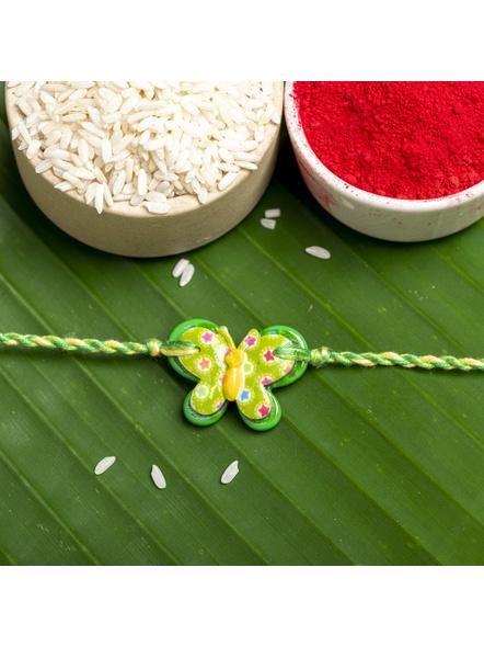 Acrylic Green Butterfly Rakhi with Yellow Green Dori Roli Chawal for Boys & Kids-1