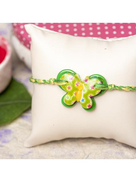 Acrylic Green Butterfly Rakhi with Yellow Green Dori Roli Chawal for Boys & Kids-LAARKK16
